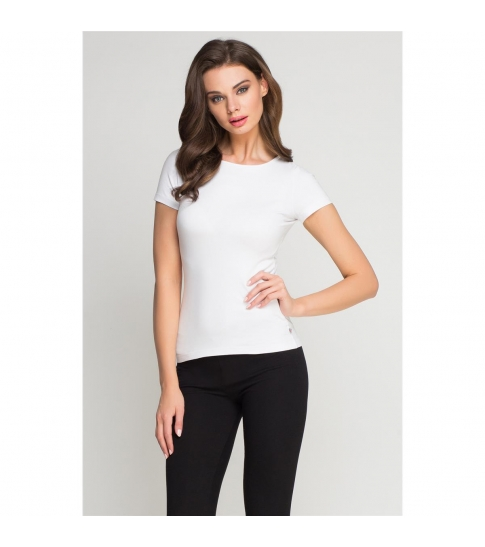 Koszulka elastan damska biała -256