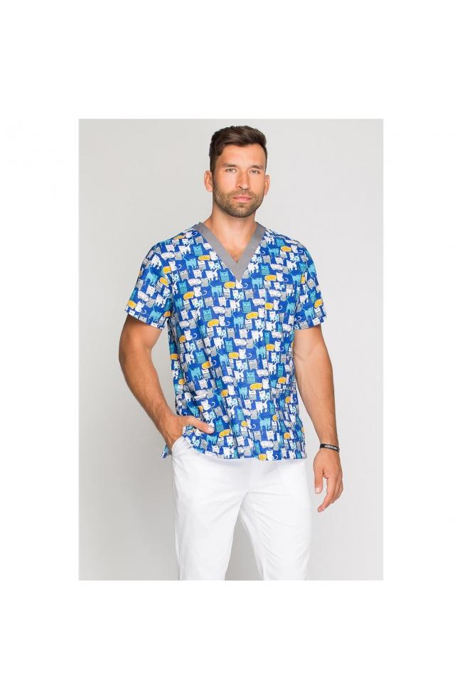 256112699d Kolorowa bluza medyczna męska dla pediatrów