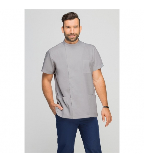 Bluza medyczna męska z boczną stójką szara-332
