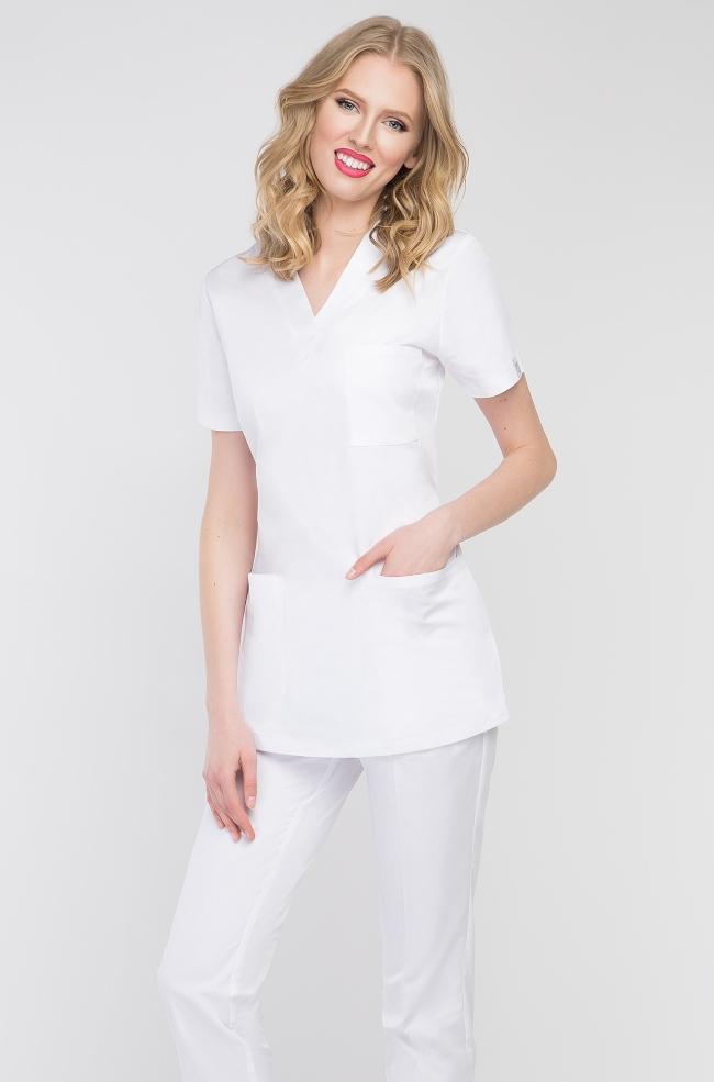 Bluza medyczna damska biała-409