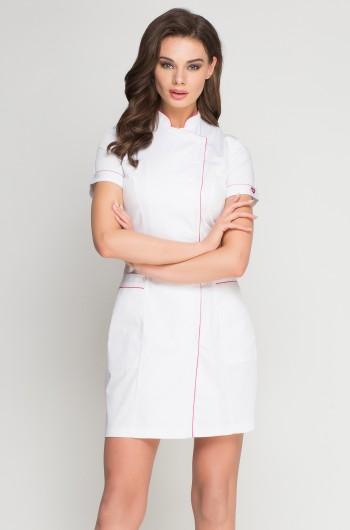 Fartuch medyczny biały/ różowy-197